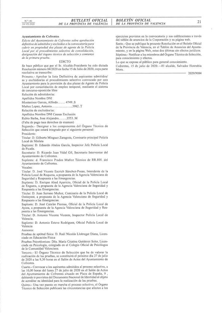 Aprobación definitiva de admitidos y excluidos a convocatoria